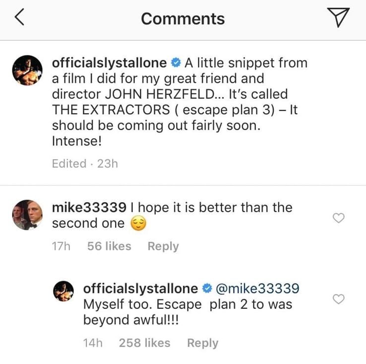Escape Plan 2 Sylvester Stallone Instagram