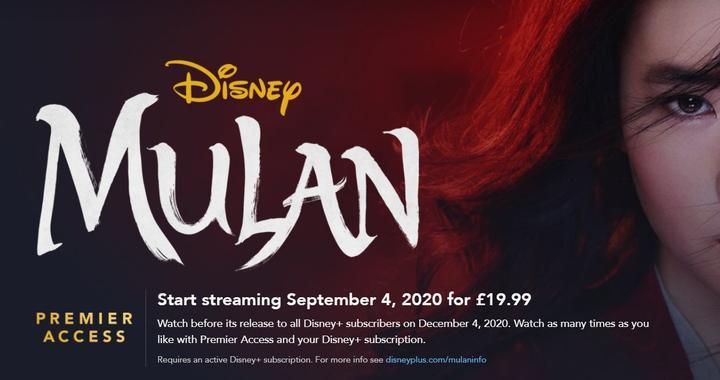 Mulan Disney Plus kostenlos USA